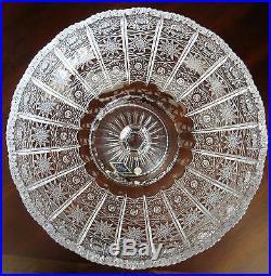 Bohemian Czech Vintage Crystal 8 Pedestal Bowl Hand Cut Queen Lace 24% Lead