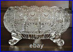 Bohemian Czech Vintage Crystal 9 Footed Bowl Hand Cut Queen Lace 24% Lead Glass