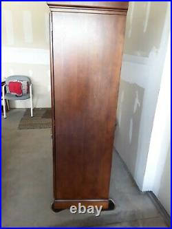 COMPUTER ARMOIRE DESK glass lead windows slightly used scratches no pets