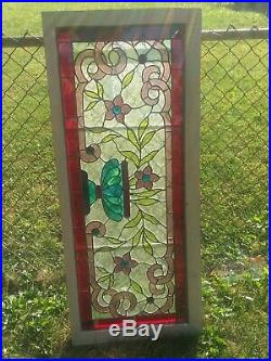 C. 1890's VICTORIAN LEADED & JEWELED STAINED GLASS TRANSOM WINDOW 46 x 19 ANTIQUE