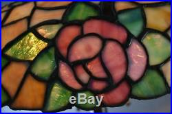 Chicago Mosaic Leaded Glass&Brass Table Lamp Rose Vine Pattern Three Sockets 18