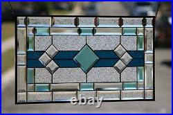 Classic Turquoise Beveled Stained Glass Panel 28 5/8x16 1/2