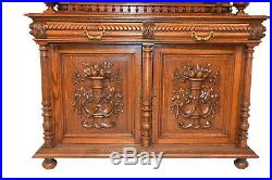 Clean French Renaissance Henry II Cabinet, Leaded Glass Panels, 19th Century Oak