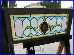 Colorful Antique Stained Glass Transom Window 34.5 X 15.5 Salvage