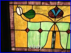 Colorful Antique Stained Leaded Glass Transom Window 38 x 25 Circa 1910