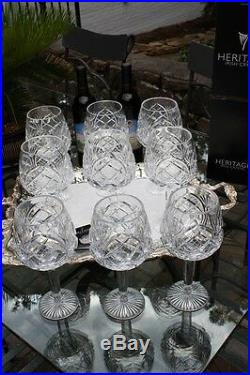 Crystal, Heritage Irish Oversized Cathedral Wine Goblets Leaded 10 Available