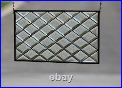 Diamond Beveled Stained Glass Window Sidelight /Transom25 1/2 x 12 7/8