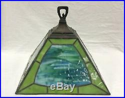 Duffner & Kimberly Slag Glass Leaded Glass Electric Hanging Lamp Shade Fixture