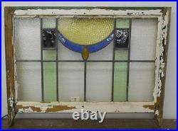 EDWARDIAN ENGLISH LEADED STAINED GLASS SASH WINDOW Abstract Design 28.75 x 19