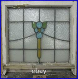 EDWARDIAN ENGLISH LEADED STAINED GLASS SASH WINDOW Floral Sweep 23.5 x 21