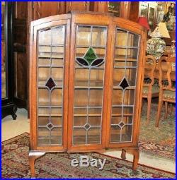 English Antique Oak Leaded Glass Arts & Crafts Bureau Bookcase / Display Cabinet