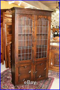 English Solid Oak Jacobean Leaded Glass Door Bookcase / Display Cabinet