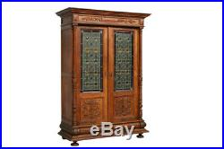 Exceptional Antique Belgian Leaded Glass Bookcase, 1900-20's