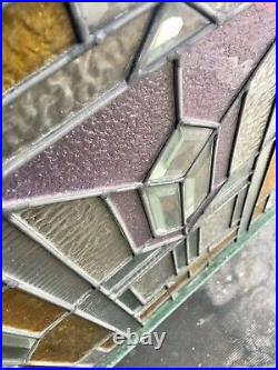 Extreme Architectural Art Deco Leaded Stained Glass Window