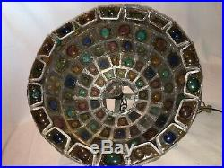 Felipe Delfinger Mexican Modern Glass Leaded Mid Century Brutalist Lamp Feders