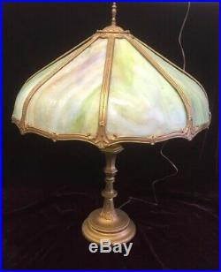 Fine Antique American Art Nouveau Victorian Slag Glass Lamp 8 Bent Panel Leaded