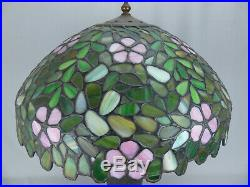 Fine Antique Handel / Unique Leaded Stained Glass Apple or Cherry Blossom Lamp