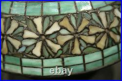 Floral Art Deco Antique Table Lamp Leaded Glass with Brass Base Tiffany Style