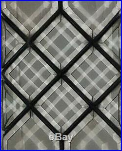 GORGEOUS SET OF (2) ANTIQUE BEVELED GLASS SIDELIGHT TRANSOM WINDOWS, early 1900s