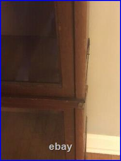 Globe-Wernicke Oak Three-Stack Barrister Bookcase With Leaded Glass Doors