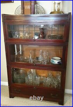 Globe-wernicke 5 Shelf Bookcase D-12 1/4 398 Drawer & Leaded Glass File Boxes