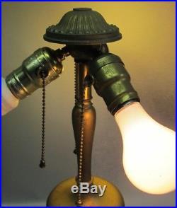 Gorgeous & Large AMERICAN ART NOUVEAU Slag Glass Lamp c. 1910 antique leaded