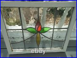 HD-70A Lovely Large Leaded Stain Glass Window F/England Reframed 25 3/8 X 20 1/4