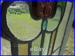 H-31-536 Lovely Older English Tulip Leaded Stain Glass Window 31 3/8 X 16 5/8