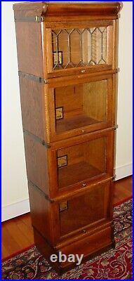 Half size antique oak barrister bookcase leaded glass door-15613