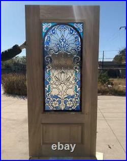Hand Made Leaded Stained Glass Mahogany Entry Door Jhl164