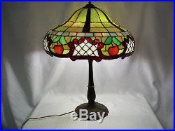 Huge Signed Miller Arts & Crafts, Art Nouveau Leaded Lamp, Tiffany Era, Original
