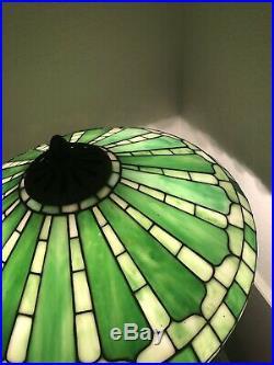 JA Whaley Fleur De Lis Antique Leaded Stained Glass Lamp Tiffany Handel Era