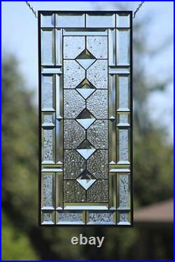 Jewel-Beveled Stained Glass Window Panel- Hanging 28 1/2 x 12 1/2