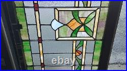 LARGE ANTIQUE STAINED LEADED GLASS WINDOW, PA MANSION SALVAGE 1890s