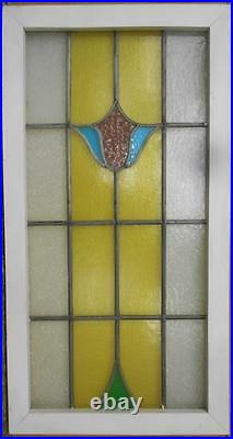 LARGE OLD ENGLISH LEADED STAINED GLASS WINDOW Beautiful Floral 19 x 36.25