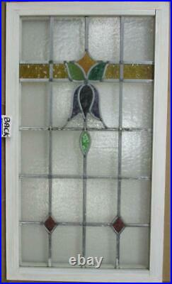 LARGE OLD ENGLISH LEADED STAINED GLASS WINDOW Lovely Flower Design 20.5 x 36