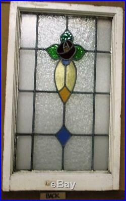 LARGE OLD ENGLISH LEADED STAINED GLASS WINDOW Lovely Rose Design 20 x 32.5
