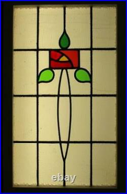 LARGE OLD ENGLISH LEADED STAINED GLASS WINDOW Lovely Rose Design 21.25 x 34.75