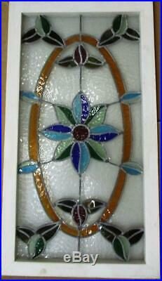 LARGE OLD ENGLISH LEADED STAINED GLASS WINDOW Pretty Flowers 35.25' x 19.25