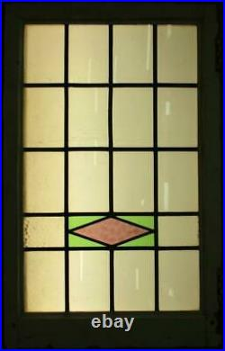 LARGE OLD ENGLISH LEADED STAINED GLASS WINDOW Pretty Geometric Band 20.5 x 33