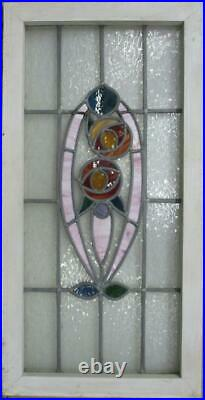 LARGE OLD ENGLISH LEADED STAINED GLASS WINDOW Stunning Floral 17.5 x 34.5