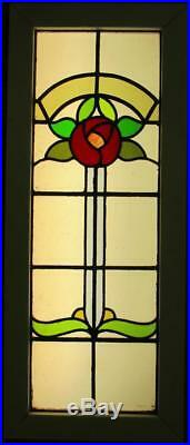 LARGE OLD ENGLISH LEADED STAINED GLASS WINDOW Stunning Floral 17.5 x 42.5