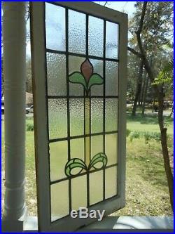 LA-70 LARGE Lovely Leaded Stain Glass Window F/England 21 3/4 X 44 7/8