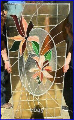 Large 71x33.5 Leaded Stained Glass Window Panel Multicolor- Flower #1
