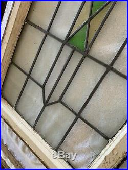 Large Antique ARCHITECTURAL SALVAGE LEADED STAINED GLASS WINDOW 21 X 36