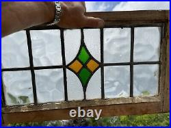 Large Antique Victorian Stained Leaded Glass Pub Window With Hanging Hooks