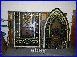 Large Beautiful Antique Gothic Style Stained Leaded Glass Church Window