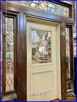 Late 1800's Historic Entryway, Jamestown, NY Salvage, Leaded Stained Glass