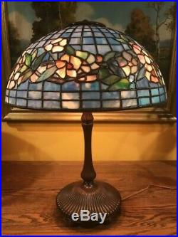 Leaded Vintage Slag Glass Lamp in the Style of Tiffany Studios Excellent Replica