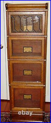 Leaded glass door quartered oak antique half size barrister bookcase-15614
